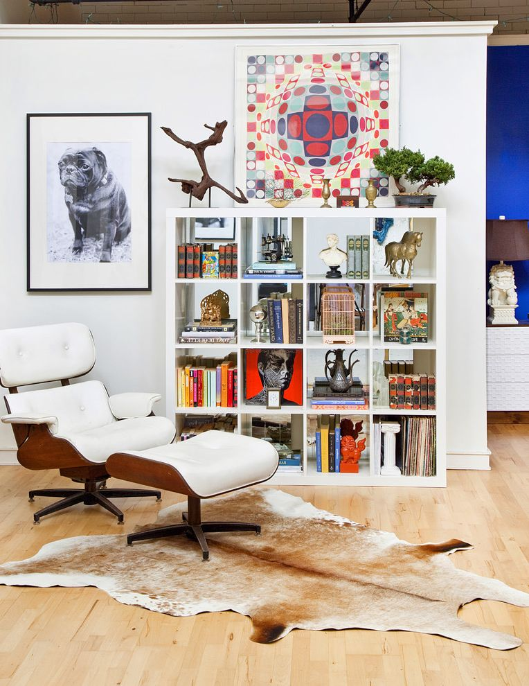 Horizontal Bookshelf with Eclectic Living Room  and Art Bookcase Bookshelves Cowhide Rug Lounge Chair White Bookcase Wood Floor