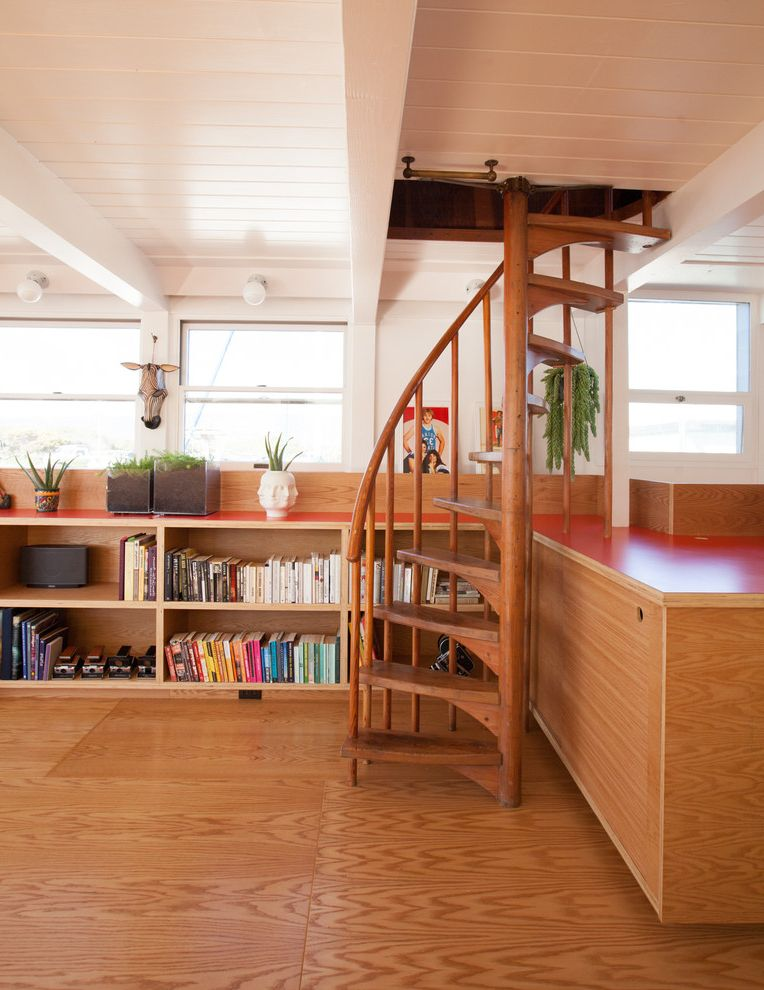 Horizontal Bookshelf with Scandinavian Staircase Also Bookcase Floating House Hanging Planters Horizontal Bookshelf Houseboat Low Ceiling Midcentury Minimalist Modern Planters Plywood Red Countertop Spiral Staircase White Ceiling