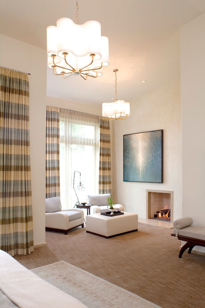 Horizontal Striped Drapes with Contemporary Bedroom and Carpet Fuse Lighting Lamp Holly Hunt Lorin Marsh Marian Jamieson Chandelier Neutral Colors Roi James Art Rug Over Carpet Striped Curtains Striped Drapes Striped Window Covering