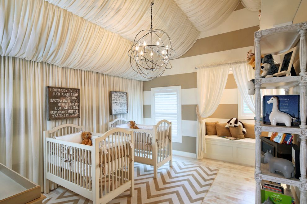 Horizontal Striped Drapes with Contemporary Nursery and Beige Bold Patterns Chandelier Chevron Distressed Paint Tagre Fabric Ceiling Our Perfect Little Nursery for Twins Shutters Stripes Toys Vaulted Ceiling White Casing Wood Floor