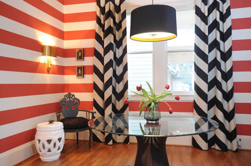 Horizontal Striped Drapes with Eclectic Dining Room and Eclectic