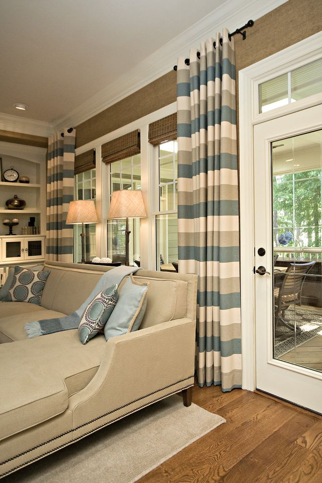 Horizontal Striped Drapes with Traditional Family Room and Traditional