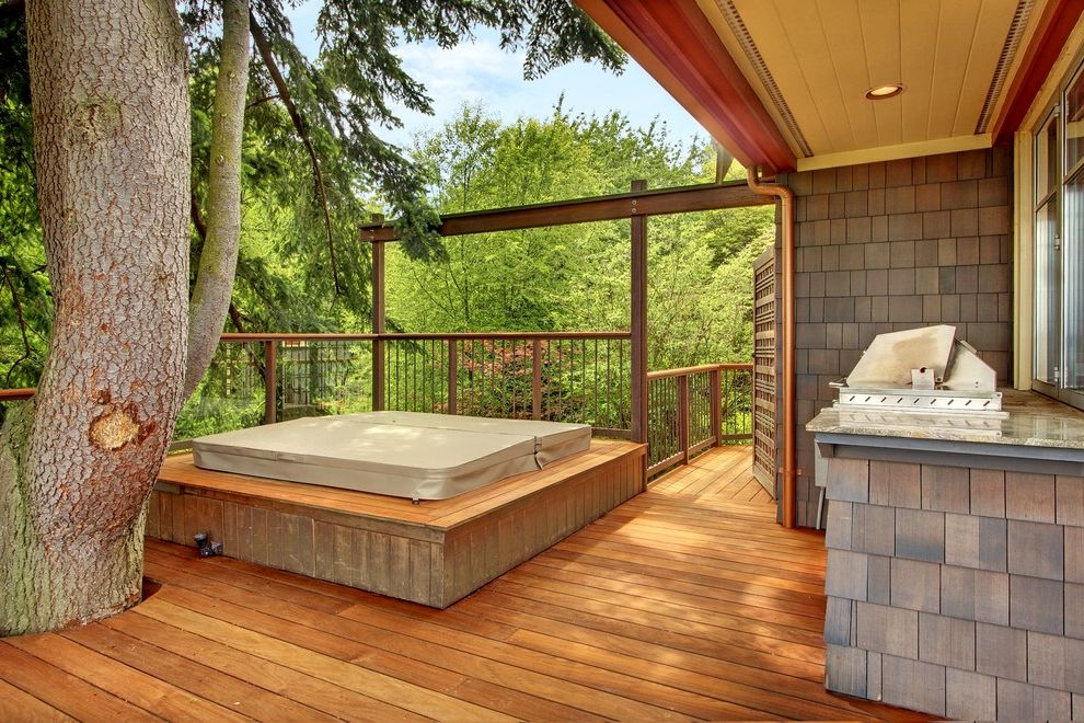 Hot Tub in Garage   Craftsman Deck  and Covered Grill Deck Around Tree Gate Hot Tub Railing Seattle Craftsman Shingles Tree