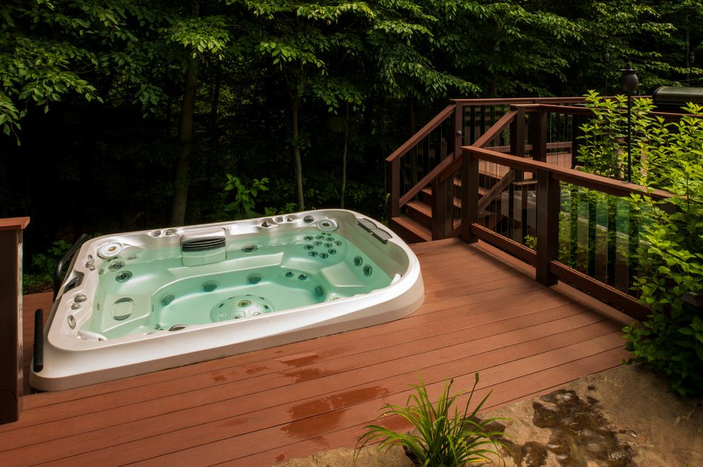 Hot Tub in Garage   Traditional Deck Also Glass Deck Panels Hot Tub Spa Steps