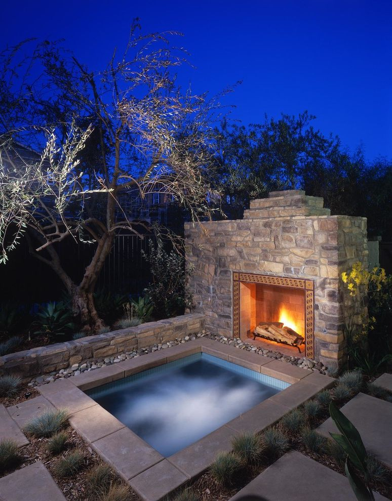 Hot Tub Spa Near Me   Rustic Pool  and Faux Stone Jacuzzi Night Lighting Outdoor Fireplace Spa Stone