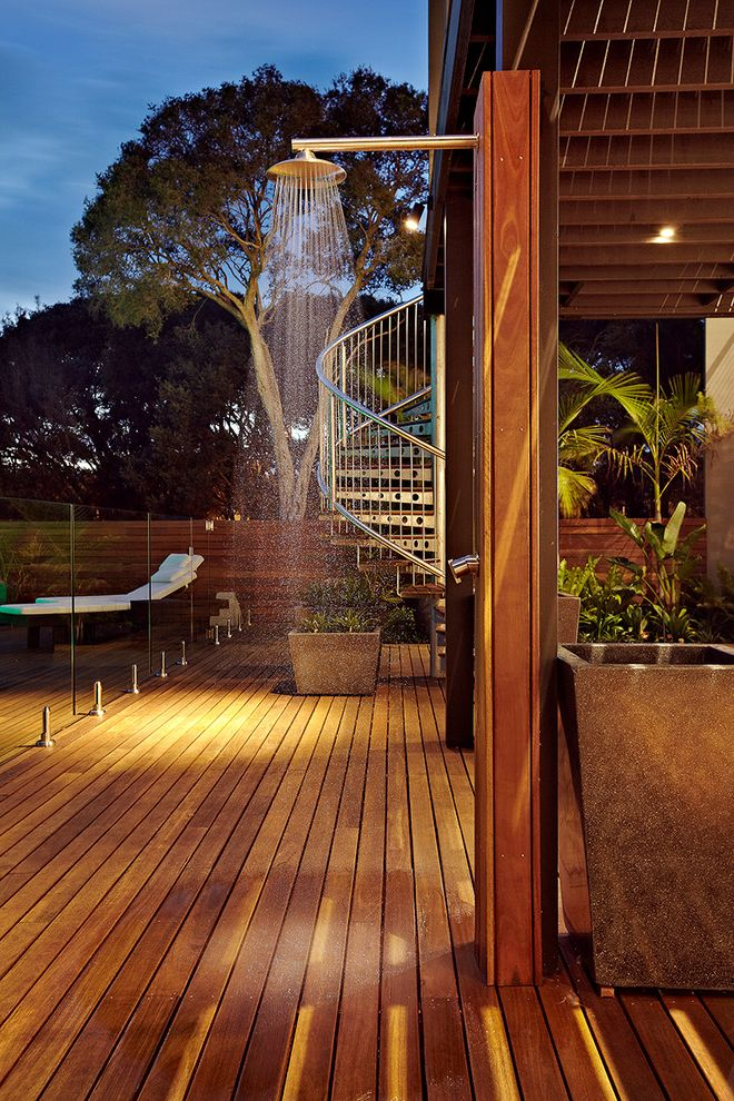 Hot Water Baseboard Covers   Contemporary Patio  and Glass Fence Indoor Outdoor Living Outdoor Shower Rain Fall Shower Head Tall Floor Planter Wood Fence Wood Plank Floor Wood Shower Wood Tongue and Groove