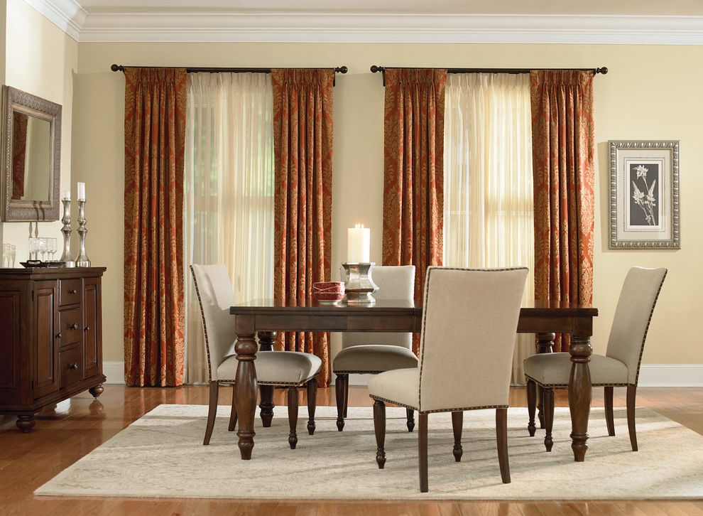 Housemaster Home Inspection Reviews   Traditional Dining Room  and Area Rug Curtains Custom Drapes Damask Drapery Panels Dining Table Drapery Drapes High End Curtain Drape Light Filtering Sheers Roman Shades Shades Sheer Drapes Shutter Window Treatments