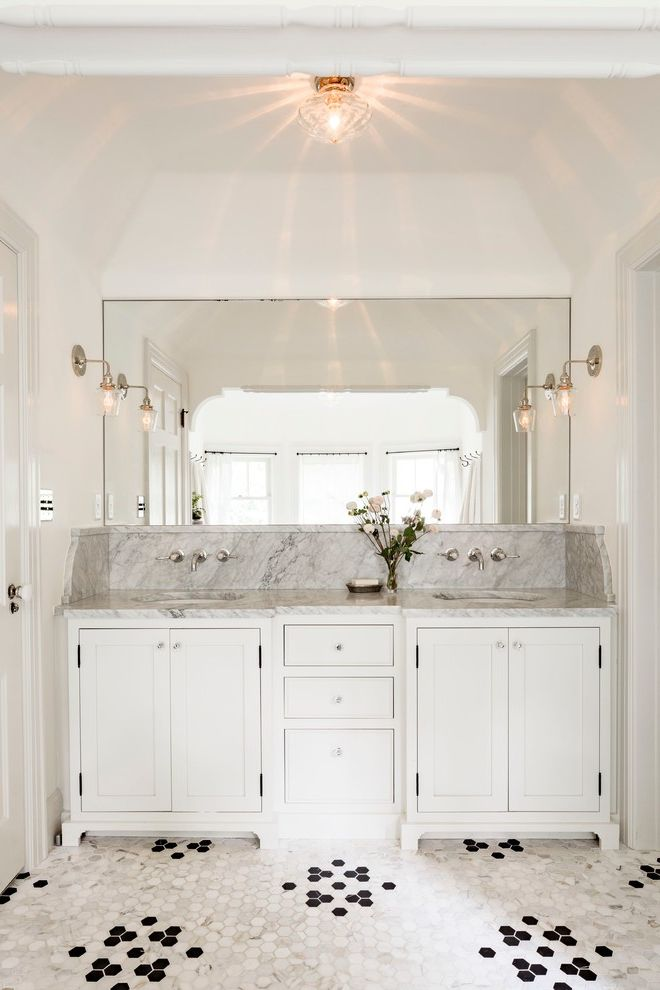 Housemaster Home Inspection Reviews   Transitional Bathroom  and Dark Stained Floors Fresh Kitchen Remodel Marble Sink Mirror Rich Color Tudor White Cabinets White Walls