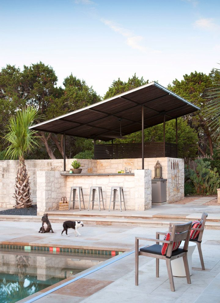 Housemaster Home Inspection Reviews   Tropical Patio Also Beige Stone Wall French Bulldog Metal Bar Stools Outdoor Bar Outdoor Living Wood Armchair Wood Slats