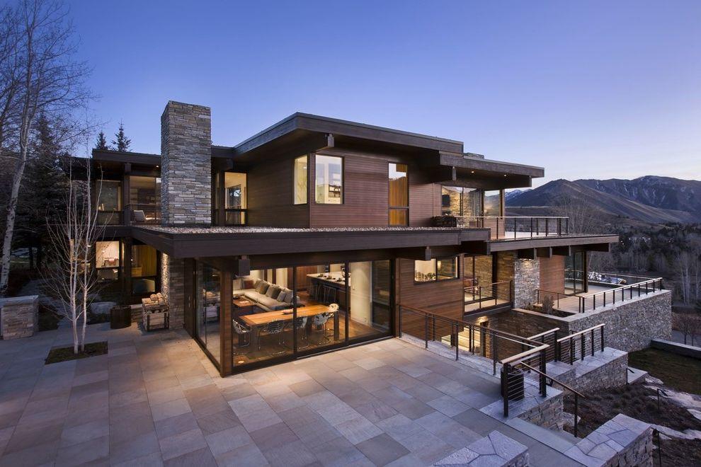 Houses for Sale in Spokane Valley   Contemporary Exterior Also Patio Sliding Glass Door Stone Chimney Stone Siding Wraparound Deck