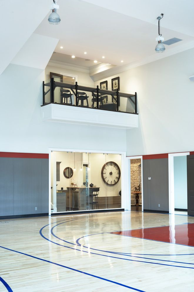How Big is a Basketball Court   Contemporary Home Gym Also Balcony Basketball Custom Homes Greenville Gym High Ceiling Indoor Basketball Court Kitchenette Milestone Safety Glass Skybox Upstate