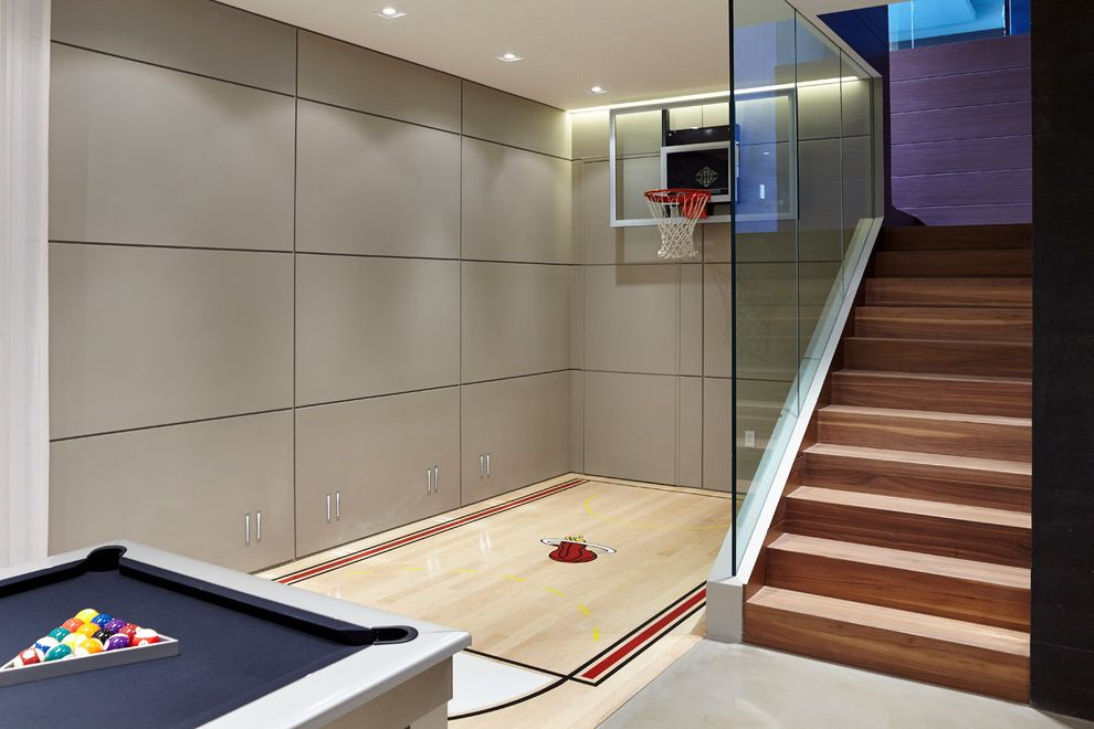 How Big is a Basketball Court   Contemporary Home Gym  and Family Room Glass Indoor Basketball Court Led Lights Recessed Lighting Staircase