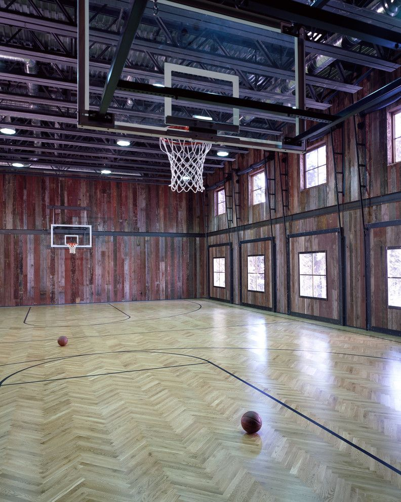 How Big is a Basketball Court   Rustic Home Gym  and Barn Basketball Basketball Court Distressed Gym Roof Trusses Rustic Sports Wood Paneling