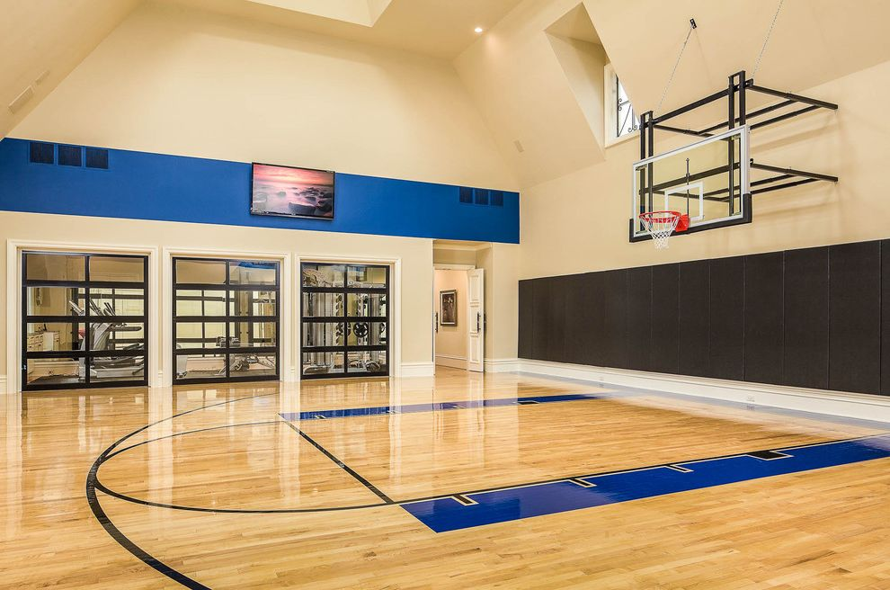 How Big is a Basketball Court with Contemporary Home Gym Also Basketball Court Basketball Hoop Glass Doors Glass Garage Doors Gym Plasma Tv Skylight
