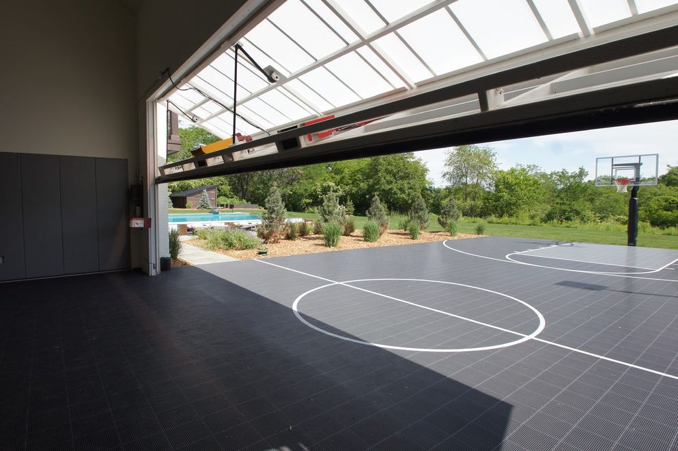How Big is a Basketball Court with Transitional Home Gym Also Garage Door Indoor Outdoor Basketball Court Rubber Court