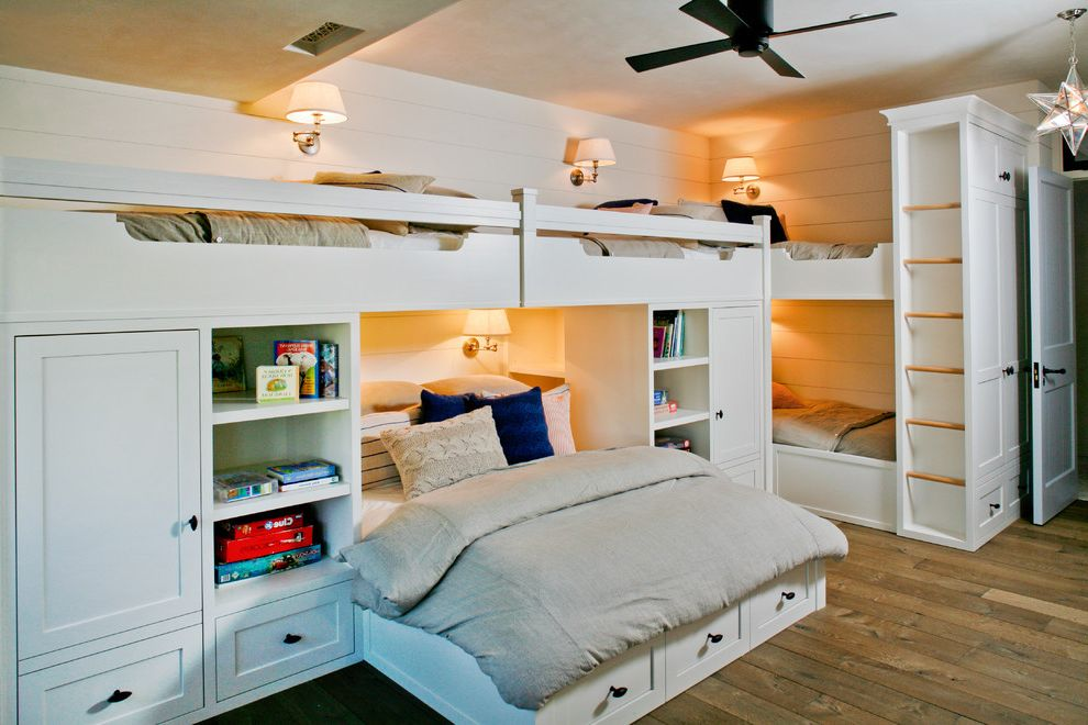 How Big is a Queen Bed with Beach Style Kids  and Bunk Beds Ceiling Fan Kids Bedroom Open Shelves Star Pendant Storage Bed Wall Sconces White Paneling Wood Floors