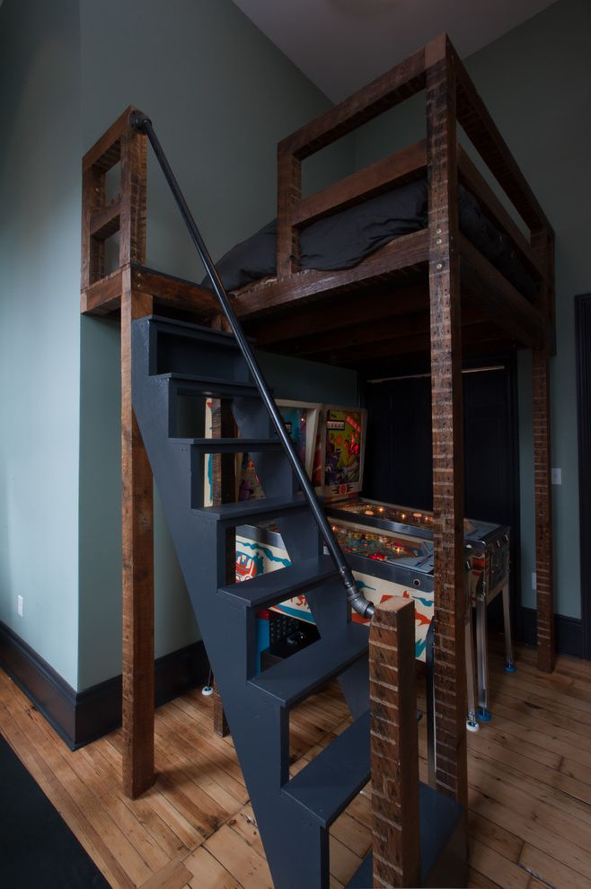 How Big is a Queen Bed with Contemporary Bedroom Also Black Bedding Blue Blue Walls Bunk Beds Dark Wood Baseboard Dark Wood Bed Kids Room Ladder Loft Loft Bed Pinball Machine Pittsburgh Staircase Wood Floor