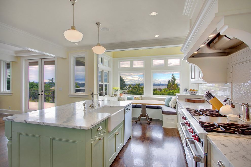 How Big is My Property   Traditional Kitchen  and Alcove Apron Front Sink Backsplash Bench Seat Breakfast Nook Crown Molding Drawer Pulls Hood Island Patio Doors Pendant Lamps Subway Tile