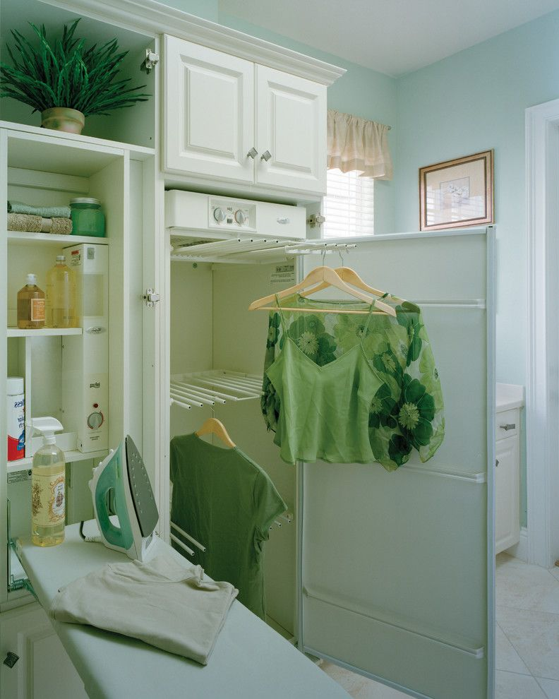 How Long Does It Take Polyurethane to Dry   Traditional Laundry Room Also Built in Cabinetry Hangers Indoor Plants Ironing Board Light Blue Storage Valance Wall Art Window