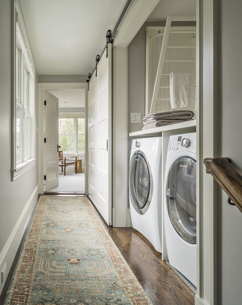 How Long Does It Take Polyurethane to Dry with Farmhouse Laundry Room  and Barn Door Carpet Runner Concord Farm Sink Farmhouse Foursquare Grey Hall Historic Laundry Laundry Alcove Modern Farmhouse Sliding Barn Doors Traditional Upstairs Laundry Room
