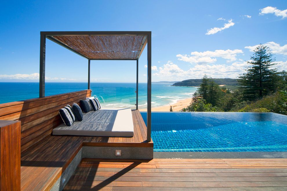 How Long Does Polyurethane Take to Cure   Contemporary Pool  and Beach House Cabana Contemporary Contemporary Beach House Day Bed Operable Roof Palm Beach House Small Pool Water View Wet Edge Pool