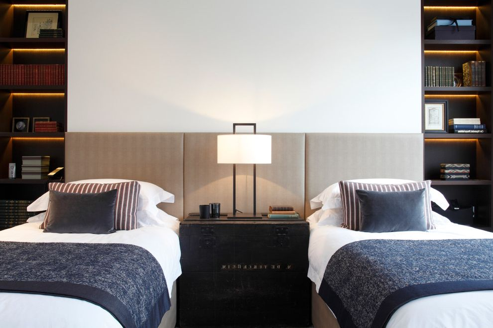 How Long is a Twin Bed with Contemporary Bedroom  and Bedside Lamp Built in Bookcase Wall Cabinet Lighting Gray Blankets Illuminated Shelves Lit Shelves Strip Lighting Striped Cushions Striped Pillows Table Lamp Twin Beds Twin Room