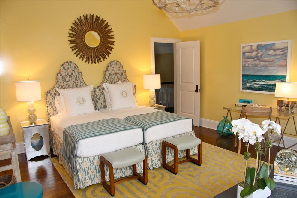 How Long is a Twin Bed with Eclectic Bedroom Also Antler Chandelier Area Rug Artwork Desk Night Stand Starburst Mirror Stools Table Lamps Twin Beds Vaulted Ceiling Wood Floor Yellow