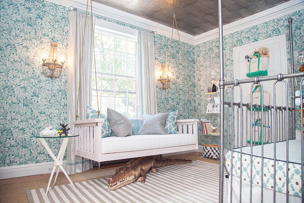 How Long is a Twin Bed with Eclectic Kids Also Accent Table Animals in Nursery Bench Swing Eclectic Nursery Iron Crib Metal Crib Metallic Ceiling Metallic Crib Nursery Wallpaper Rope Shelving Swing Tote Bags Wall Sconces Wallpaper Window Treament