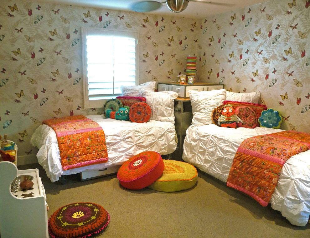 How Long is a Twin Bed with Eclectic Kids Also Butterflies Carpet Tiles Ceiling Fan Locker Beds Pillows Plantation Shutters Play Stove Ruched Fabric Seat Cushions Twin Beds Wallpaper White Duvets