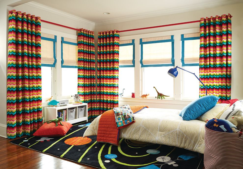 How Long is a Twin Bed with Transitional Kids  and Chevron Curtains Colorful Curtains Kids Bedroom Roma Shades Space Rug