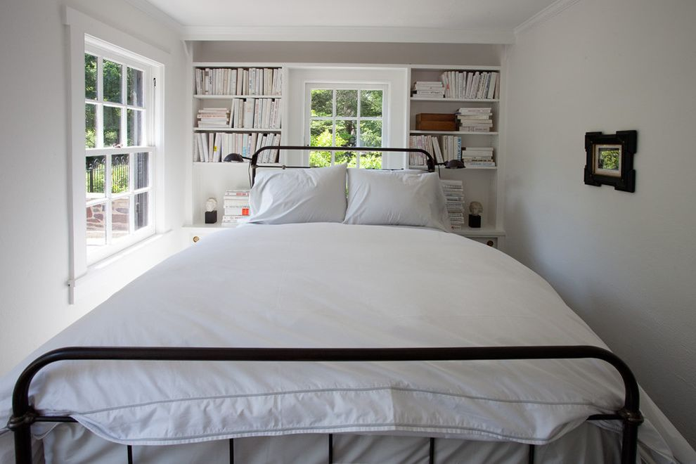 How Many Inches is a Queen Size Bed   Farmhouse Bedroom Also Bookcase Built in Shelves Built in Storage Double Hung Windows Metal Bed Reading Lamp Small Bedroom Wall Art Wall Decor White Bedding