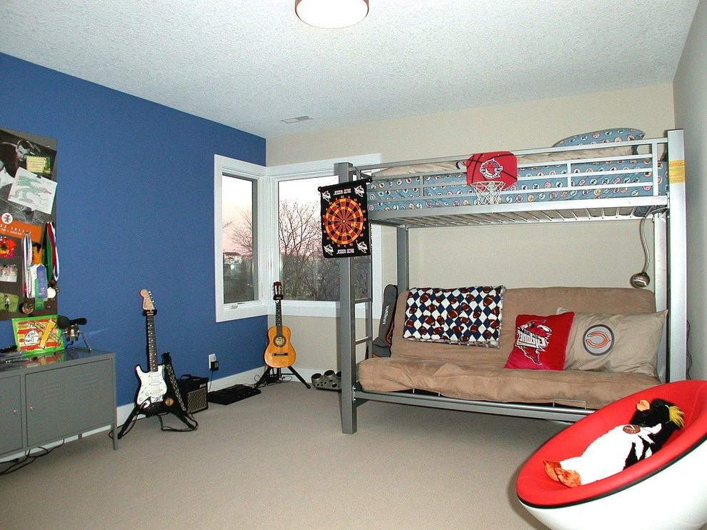 How Much Are Futons   Contemporary Kids  and Accent Wall Bedroom Bunk Beds Ceiling Lighting Corner Windows Flush Mount Blue Wall Futon Locker Storage Music Room Shared Bedroom White Wood Wood Trim