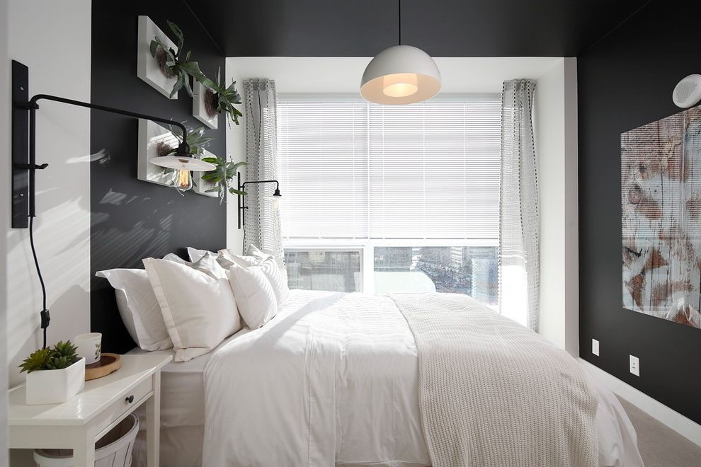 How Much Are Futons with Contemporary Bedroom Also Bachelor Pad Black and White Black Walls Blinds Eco Design Master Bedroom Pendant Light Reading Lights Sheer Curtains Small Spaces Wall Lamps Wall Plants Wall Sconces White Bed Linens White Nightstand