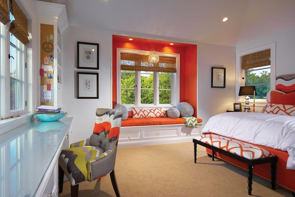How Much Do Windows Cost with Traditional Bedroom  and Accent Color Bed Bench Built in Desk Carpet Color Desk Desk with Glass Top Glass Top Nook Orange Orange Bed Orange Wall Roman Blinds Sisal Carpet Upholstered Bench Window Seating