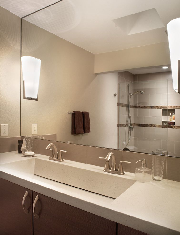 How Much Does a Sink Cost with Modern Bathroom  and Bath Accessories Bathroom Mirror Double Sinks Double Vanity Neutral Colors Sconce Trough Sink Wall Lighting