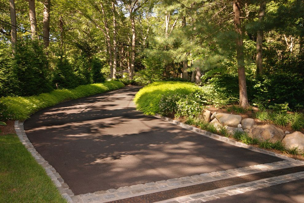 How Much Does an Asphalt Driveway Cost with Transitional Landscape  and Asphalt Boulders Driveway Grass Landscape Border Landscaping Lawn Ornamental Grasses Pavers Woodsy