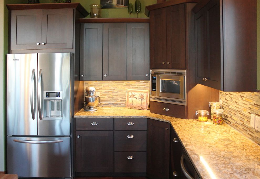 How Much Does an Island Cost    Kitchen  and Brown Cabinets Cherry Countertops Island Omega Cabinetry Quartz