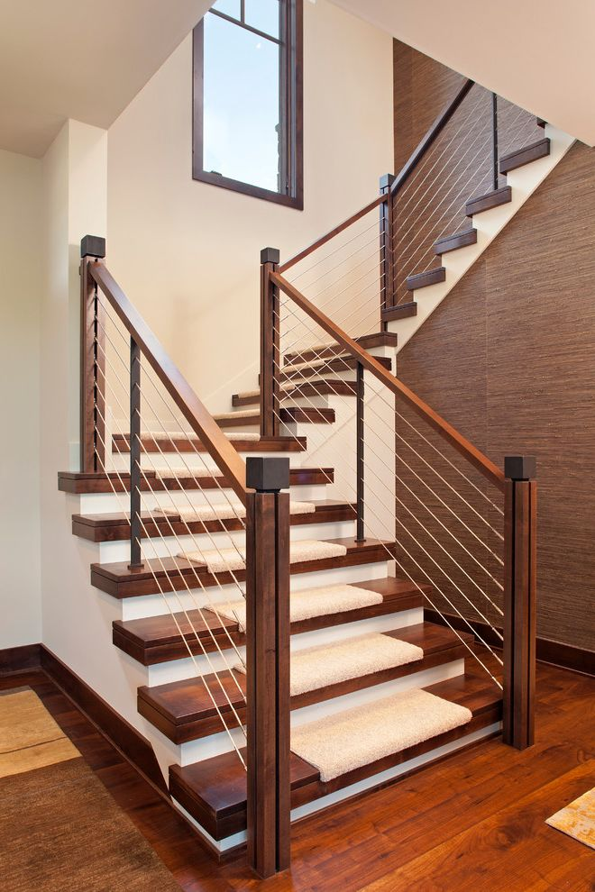 How Much Does It Cost to Carpet Stairs   Contemporary Staircase  and Cable Rail Carpet Treads Closed Risers Open Stringer Open Tread Stair Carpet Staircase Window U Shaped Staircase White Risers Wood Banister Wood Tread