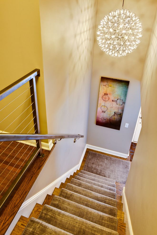 How Much Does It Cost to Carpet Stairs   Modern Staircase Also Beige Wall Cable Staircase Railing Carpet Runner Carpet Stairs Staircase Chandelier Staircase Rail Staircase Runner Wall Art White Baseboard Wood Stairs
