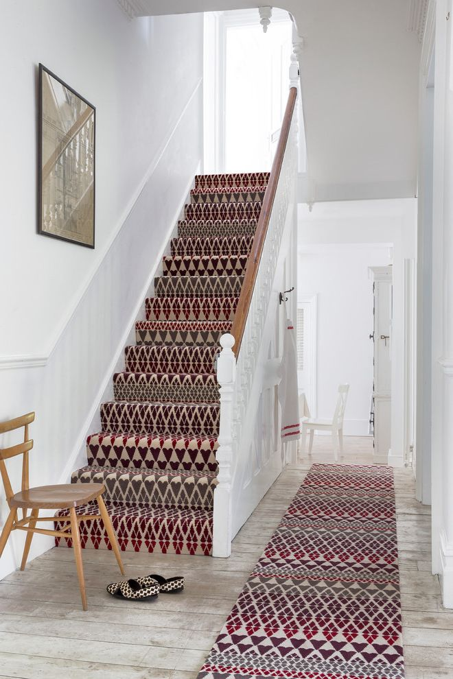 How Much Does It Cost to Carpet Stairs   Traditional Staircase Also Colour Hallway Pattern Patterned Carpet Rug Runner Stair Runner Staircase Carpet Staircases Stairs Wall Art Wood Chair Wooden Floor