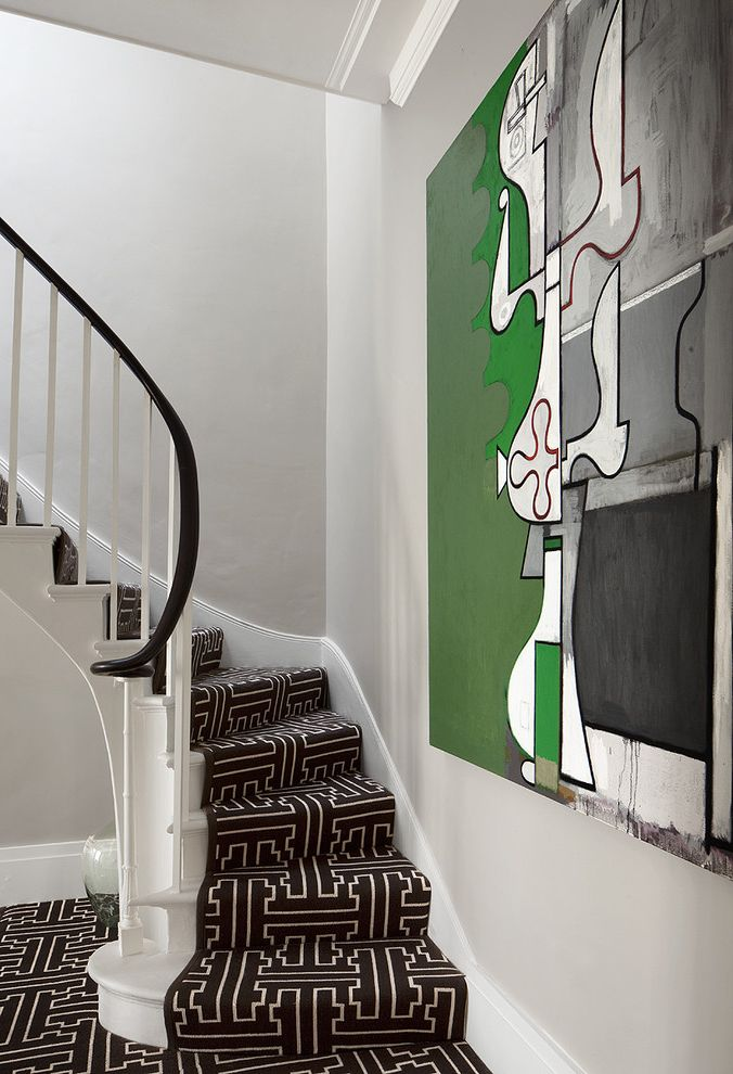 How Much Does It Cost to Carpet Stairs with Contemporary Staircase  and Artwork Baseboards Carpet Runner Curved Staircase Graphic Carpet Green Accent Neutral Colors Under Stair Storage Wall Art Wall Decor Wooden Staircase
