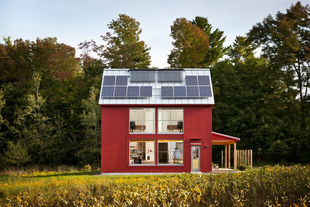 How Much Does Solar Panels Cost with Contemporary Exterior Also 1500 Sq Ft Energy Efficient Go Home Maine Metal Roof Passive House Passivhaus Red House Solar Panels
