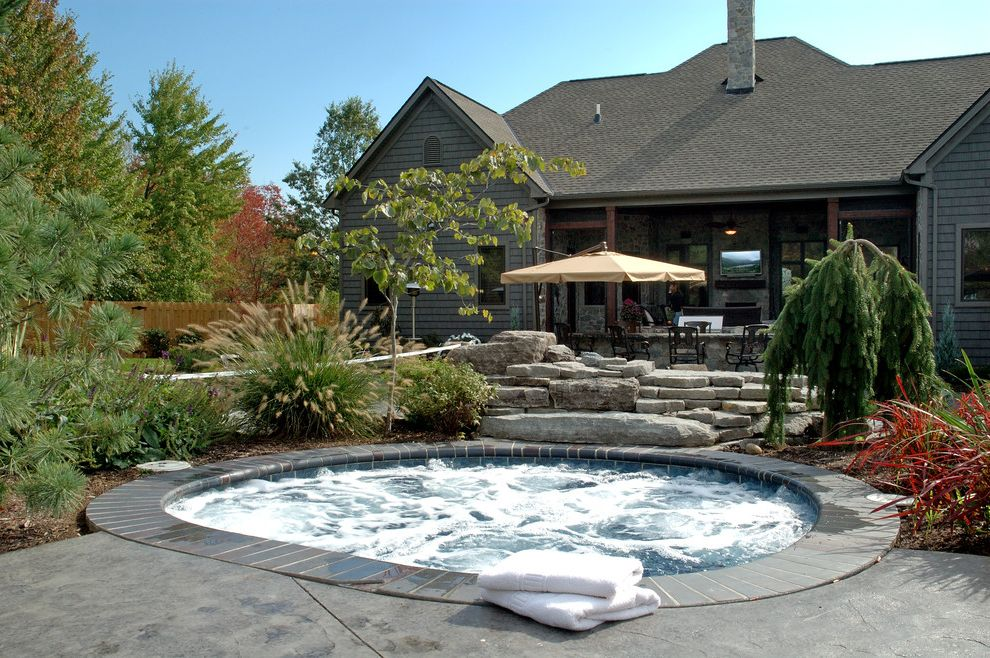 How Much is a Hot Tub   Eclectic Pool  and Concrete Deck Jacuzzi Landscaping Patio Sauna Stone Traditional Umbrella Whirpool