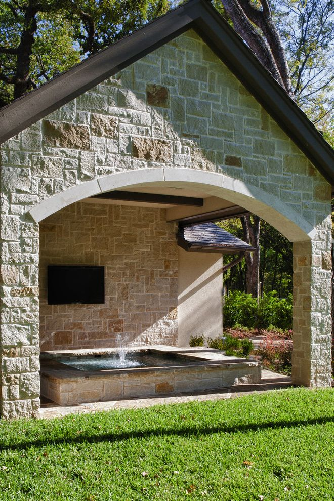 How Much is a Hot Tub   Mediterranean Pool Also Arched Doorway Arched Lintel Covered Hot Tub Fountain Gable Roof Lawn Stone Facade Tv Water Feature