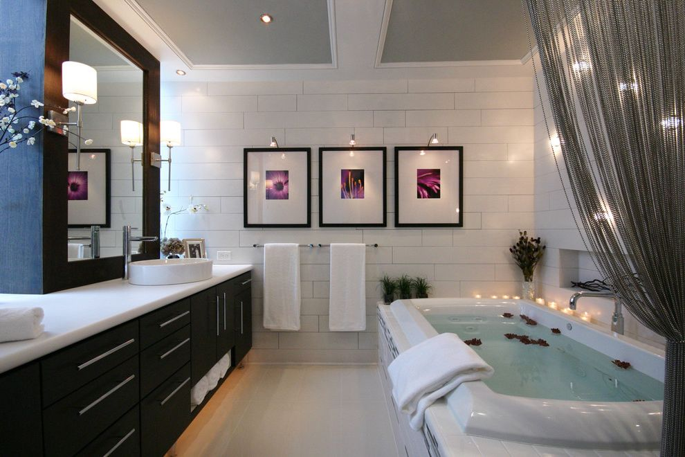 How Much is the Biltmore Estate Worth   Contemporary Bathroom Also Art Light Bathroom Mirror Ceiling Lighting Drop in Tub Gray Grout Painted Ceiling Recessed Lighting Sconce Soaking Tub Subway Tile Wall Lighting White Countertops White Tile White Trim