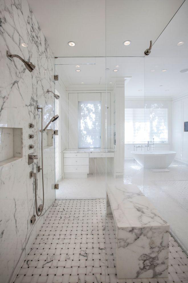 How Much is the Biltmore Estate Worth   Transitional Bathroom  and Architecture Aspen Basketweave Floor Tile Colorado Estate Handshower Recessed Lighting Recessed Shower Niche Shower Bench