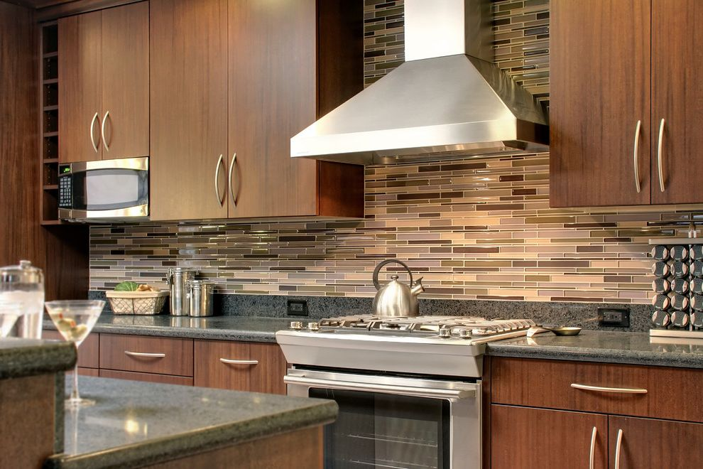 How Much to Install Central Air   Contemporary Kitchen Also Dark Wood Cabinets Glass Tiles Kitchen Hardware Kitchen Island Range Hood Stainless Steel Appliances Tile Backsplash Wine Racks Wine Storage