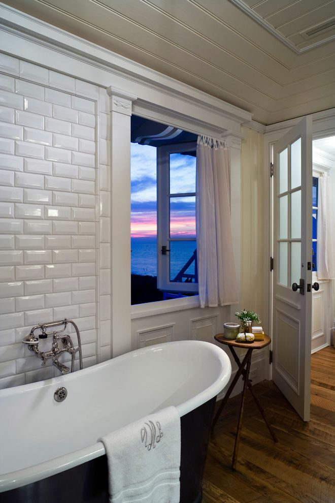 How to Bevel Wood with Beach Style Bathroom Also Beadboard Ceiling Beveled Subway Tiles Black Tub Wall Mounted Tub Filler Wood Side Table