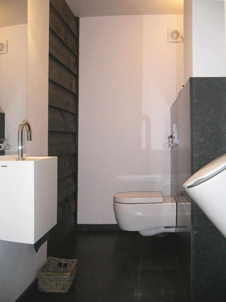 How to Bevel Wood with Contemporary Bathroom Also Bluestone Modern Powder Room