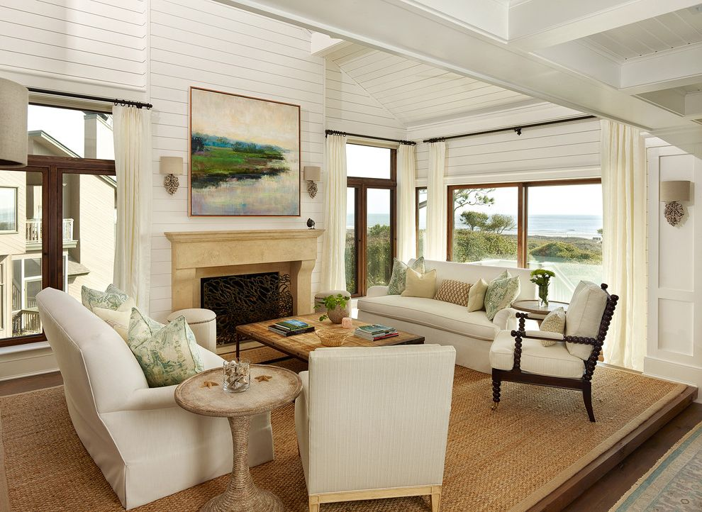 How to Bid a Painting Job with Beach Style Living Room  and Architects Beach Home Beach Style Living Room Isle of Palms Kiawah Landscape Painting Off White Curtains Renovations Resort Seabrook Sisal Rug Spool Armchair Sulivans Island